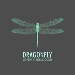 Logo - green dragonfly. Vector logo template profile of a dragonfly. Object isolated on gray background. Vector design editable layout