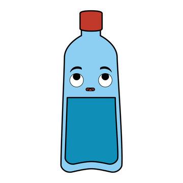 bottle water plastic kawaii character vector illustration design