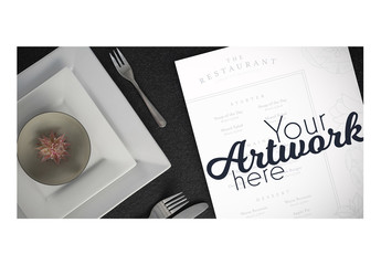 Top View Menu Mockup with Simple Place Setting 2