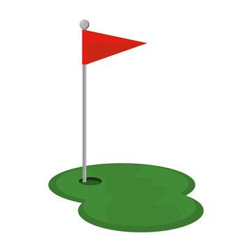 golf hole with flag vector illustration design