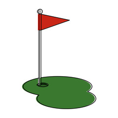 golf hole with flag vector illustration design