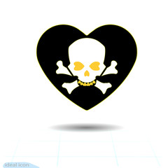 Heart icon. A symbol of love. Valentine s day with the sign of the Human skull and crossbones. Flat style for graphic and web design, logo. Frame shadow. Adrenaline addiction , Vector illustration
