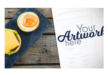 Menu Mockup with Burger on Slate