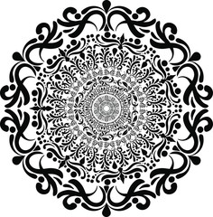 Round arabesque in black and white