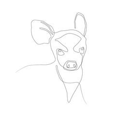 One line silhouette design of deer. vector illustration.Hand drawn minimalism style vector illustration