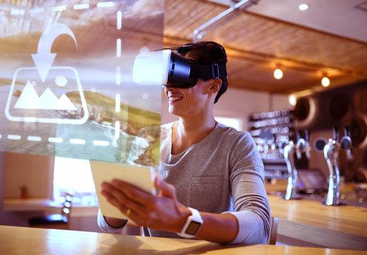 VR User in Restaurant Mockup 1