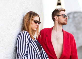 fashion couple on a white background on Valentine's day
