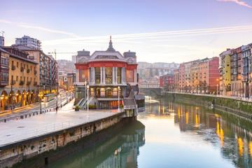 view of ribera market at morning in Bilbao, Spain