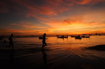 Koh Tao Island in Thailand orange sunrise