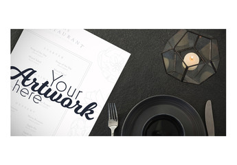 Top View Menu Mockup with Simple Place Setting 4
