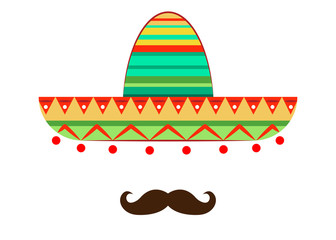 Sombrero and mustache icon template, vector isolated