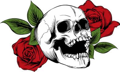 Scheletro con rose