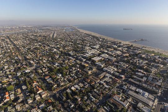 Aerial cityscape of Long Beach neighborhoods near Belmont Pier in Southern California.