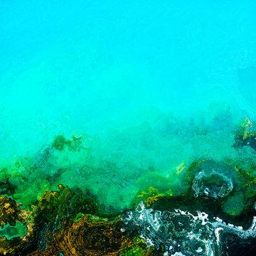 Green underwater bottom water layers, background illustration