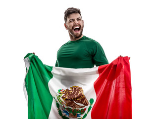 Mexican athlete / fan celebrating on white background