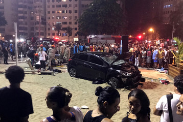 A vehicle that ran over some people at Copacabana beach is seen in Rio de Janeiro