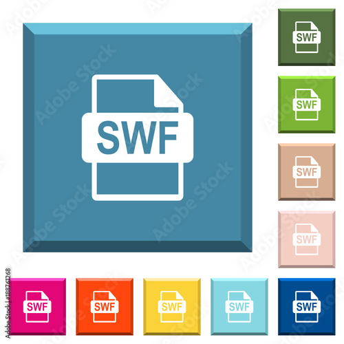 SWF file format white icons on edged square buttons
