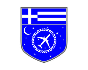 blue greece plane airport flight airline airway image symbol icon