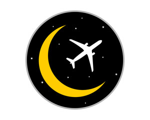crescent moon plane airport flight airline airway image symbol icon
