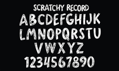 Scratchy Record Hand Lettered Alphabet