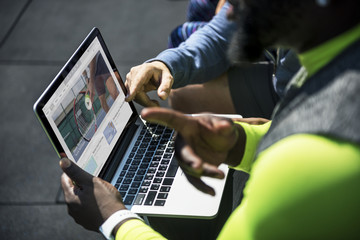 People watching tennis video clip on digital device