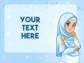 Muslim woman wearing hijab veil having her hand under chin with text space cartoon character design, against blue background, vector illustration.