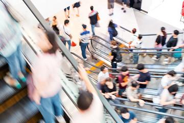 Motion escalators at the modern shopping mall