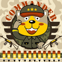 Funny animal soldier cartoon