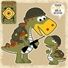 Cute dinosaurs cartoon with military equipment