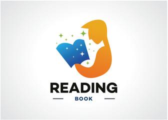 Reading Book Logo Template Design Vector, Emblem, Design Concept, Creative Symbol, Icon