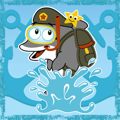 Funny dolphin cartoon vector with military uniform