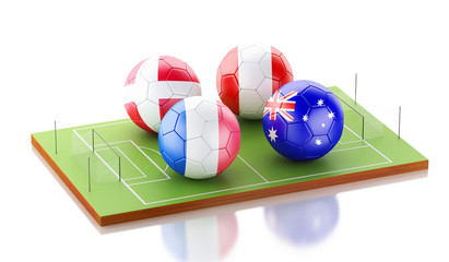 3d Soccer field with soccer ball flags. Sports concept.