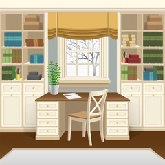 Home office or study room interior with table below the window, bookcases and chair. Home office in classic style, wooden furniture. Vector illustration 3d cartoon style