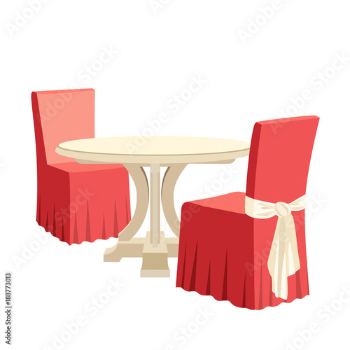 classic round dining table and two chairs with seat cover textile