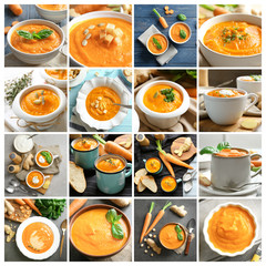 Collage with carrot ginger soup in different dishware