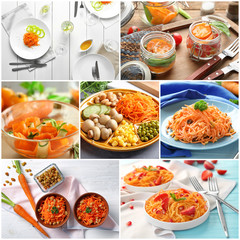 Collage with tasty carrot salads