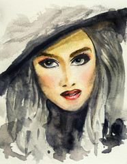 Watercolor hand drawn illustration of fashion face of a modern woman