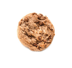 Delicious oatmeal cookie with chocolate chips on white background