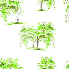 Seamless watercolor pattern. Autumn, summer landscape, forest, park. Silhouettes of trees and bushes. Green color on a white background.
