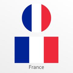 France flag set. French national symbol. Vector illustration.
