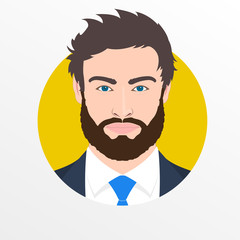 Male face avatar. Man with beard in the suit, shirt and necktie portrait. Businessman icon. Vector illustration.
