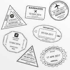 Passport stamp set. International Airport visa and custom stamps. Vector illustration.