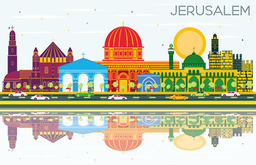 Jerusalem Israel Skyline with Color Buildings, Blue Sky and Reflections.