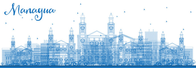 Outline Managua Nicaragua Skyline with Blue Buildings.