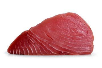 Fresh tuna steak isolated on a white background.