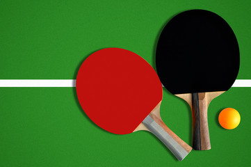 Table tennis equipments. Ping pong rackets and ball.