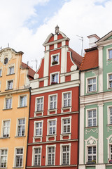Foto op Plexiglas Amsterdam Main market square ,colorful tenement houses, Lower Silesia, Wroclaw, Poland