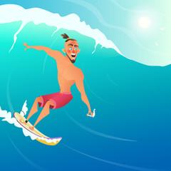 Happy Surfer ride on Blue Ocean Wave. Character cartoon design.