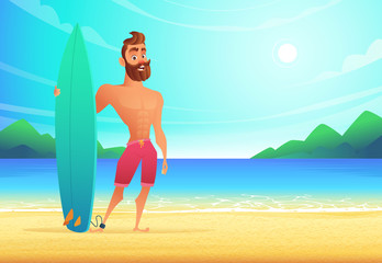 Surfer on tropical beach. Happy man standing sandy bay