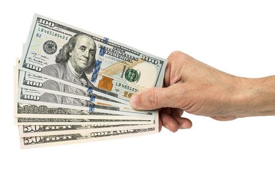hand holding money dollars,  isolated on white background